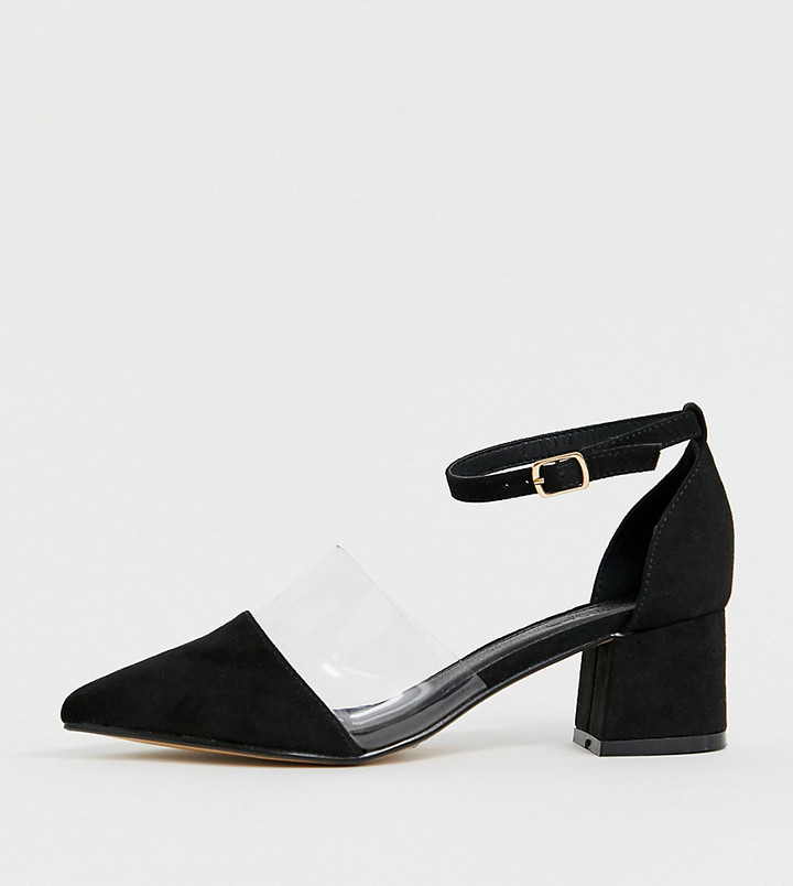 Truffle Collection Wide Fit Transparent Pointed Heels-Black