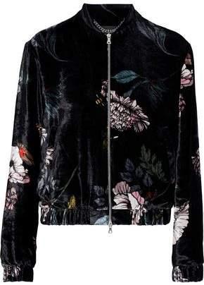 Markus Lupfer Floral-print Velvet Bomber Jacket