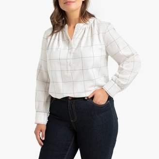 La Redoute Collections Plus Checked Shirt with Gathered Crew-Neck and Long Sleeves