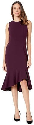 Calvin Klein Ruffle Hem Midi Dress (Aubergine) Women's Dress