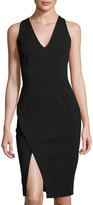 Catherine Malandrino Faux-Wrap V-Neck Sheath Dress, Black