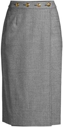 Escada Ratascha Tweed Button Pencil Skirt