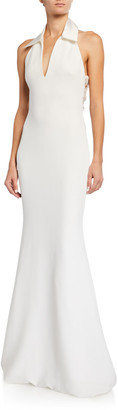 Badgley Mischka Shirt Halter Gown with Embellished Back Panel