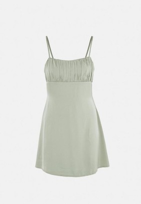 Missguided Sage Satin Ruched Bust Skater Mini Dress
