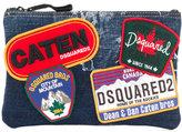 DSQUARED2 denim patch clutch bag