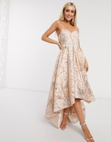 Bariano high low dress in rose gold glitter