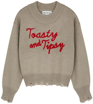 Wildfox Couture Toasty And Tipsy Grey Knitted Jumper