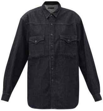Made In Tomboy - Padded-shoulder Denim Shirt - Black