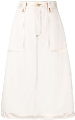 Ports 1961 A-line denim skirt