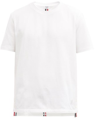 Thom Browne Striped-jersey Cotton-pique T-shirt - Mens - White