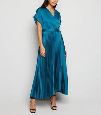 New Look Satin Pleated Midi Dress