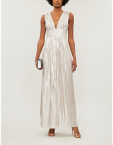 Ted Baker Aleccia Metallic Plunged-Neck Maxi Dress, Size: 10