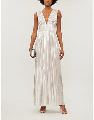 Ted Baker Aleccia Metallic Plunged-Neck Maxi Dress, Size: 12