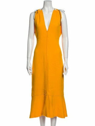 Proenza Schouler Plunge Neckline Long Dress Yellow