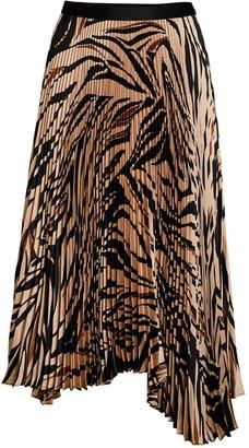 Bailey 44 Logan Tiger-Print Asymmetric Pleated Midi Skirt