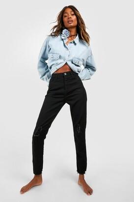 boohoo High Waist Frayed Hem Distressed Skinny Jean