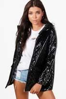 boohoo Petite Hayley Metallic Quilted Rain Coat
