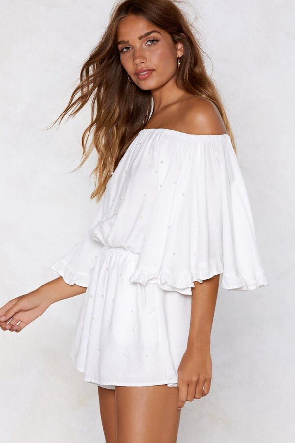 Thumbnail for your product : Nasty Gal Womens Off The Shoulder Ruffle Sleeve Playsuit - White - S
