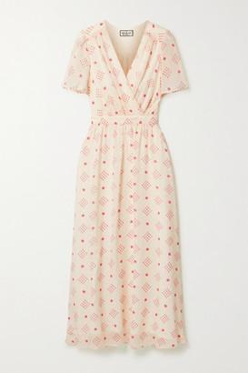Paul & Joe Wrap-effect Floral-print Chiffon Midi Dress - Cream