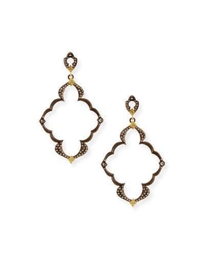 Armenta Old World Open Scroll Dulcinea Earrings with Diamonds