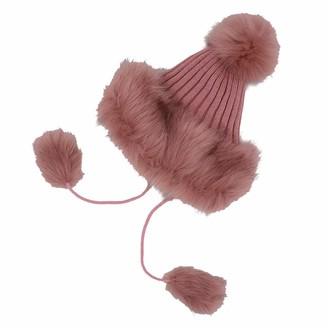 FABSELLER Faux Fox Fur Beanie Women Russian Trapper Hat Pom Pom Bobble Hat Warm Wool Knit Cap (Pink)