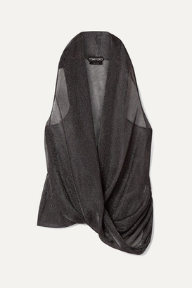 Tom Ford Wrap-effect Draped Lurex Top - Gunmetal