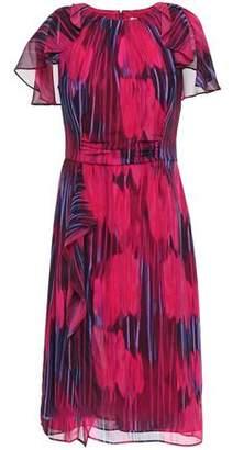 Halston Cape-effect Printed Chiffon Dress