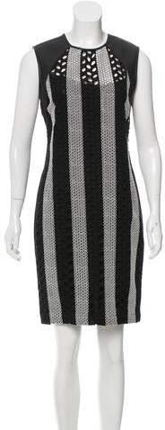 Yigal Azrouel Leather-Trimmed Eyelet Dress w/ Tags