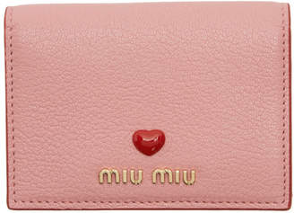 Miu Miu Pink Madras Foldover Card Holder