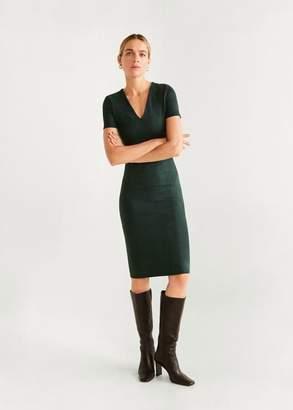 MANGO Seam-detail shift dress dark green - 4 - Women