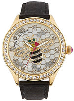 Betsey Johnson Buzzing About Betsey Leather-Strap Watch