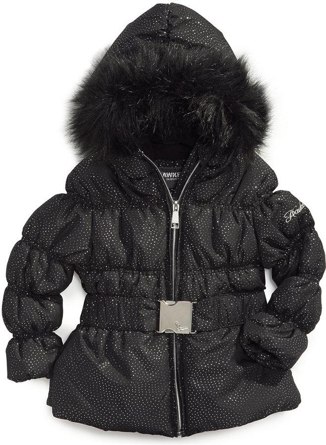 Hawke & Co Kids Jacket, Little Girls Belted Shimmer Coat