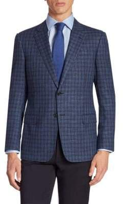 Giorgio Armani Plaid Wool Blend Jacket