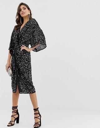 Asos Design DESIGN scatter sequin knot front kimono midi dress-Pink