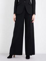Alexander McQueen Wide-leg mid-rise wool-blend trousers