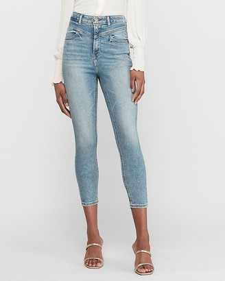 Express Super High Waisted Seamed Cropped Skinny Jeans