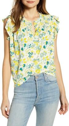 Lucky Brand Floral Sleeveless Cotton Top