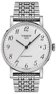 Tissot T1094071103200 Unisex Everytime Automatic Date Bracelet Strap Watch, Silver/White