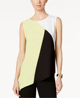 Kasper Colorblocked Asymmetrical Top
