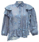 Preen by Thornton Bregazzi Kayla Ruffle-trim Chiffon Devore Blouse - Womens - Blue