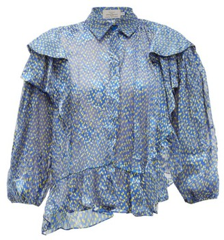 Preen by Thornton Bregazzi Kayla Ruffle-trim Chiffon Devore Blouse - Blue