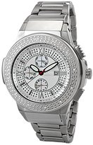 "JBW Men's JB-6101-B ""Saxon"" Silver Stainless Steel Sunray Diamond Watch"