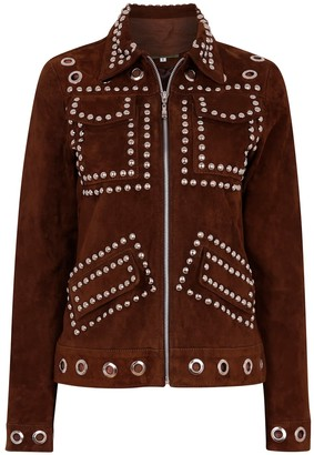 Zut London Suede Leather Studded Fitted Biker Jacket Coffee