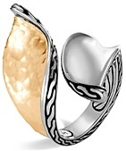 John Hardy Sterling Silver & 18K Bonded Gold Classic Chain Hammered Bypass Ring