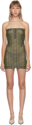 Charlotte Knowles SSENSE Exclusive Green Check Skinn Dress