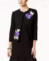 Kasper Floral-Embroidered Open-Front Jacket