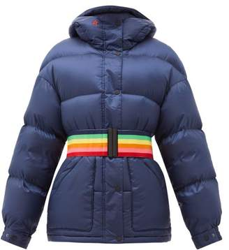 Perfect Moment Oversized Rainbow Belt Down Filled Ski Jacket - Womens - Navy