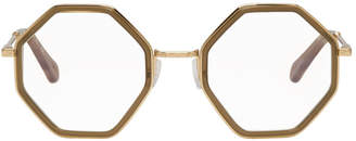 Chloé Khaki and Gold Octagon Glasses