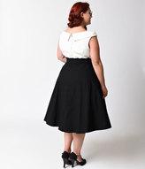 Unique Vintage Plus Size 1950s Black & White Colorblock Tippi Swing Dress