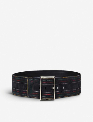 BA&SH Bloom stitched suede belt